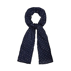 Red Herring - Navy metallic spot scarf