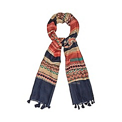 Red Herring - Navy tribal print scarf