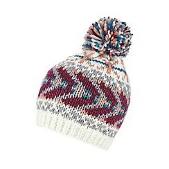 Red Herring - Cream Fair Isle knit beanie hat