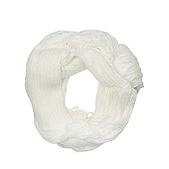 Red Herring - Cream fringed snood
