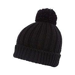 Red Herring - Black oversized pom-pom hat