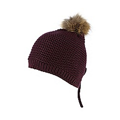 Red Herring - Purple faux fur pom-pom hat