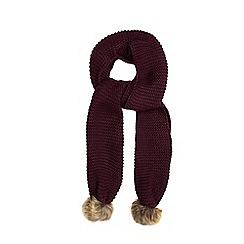 Red Herring - Purple faux fur pom-pom scarf