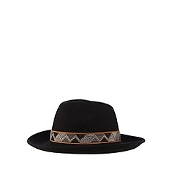 Red Herring - Black Aztec band wool fedora