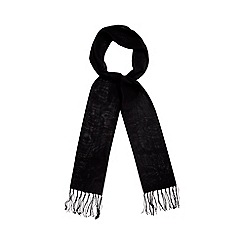 Red Herring - Black fringed chiffon scarf