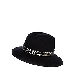 Nine by Savannah Miller - Black 'Mary' wool hat with monochrome trim
