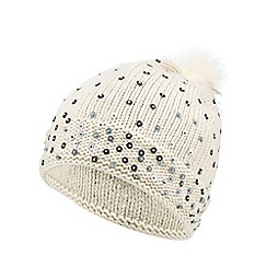 Nine by Savannah Miller - Cream 'Daiz' knitted bobble hat
