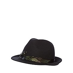 Nine by Savannah Miller - Black 'Jacob' wool trilby with feather trim