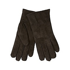 RJR.John Rocha - Dark brown fleece lined suede gloves