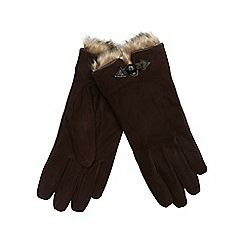 RJR.John Rocha - Dark brown suede gloves