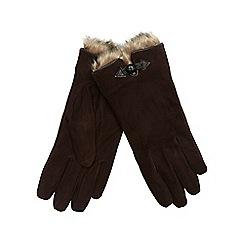 RJR.John Rocha - Dark brown suede gloves