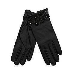 RJR.John Rocha - Black leather applique flower gloves