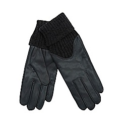 RJR.John Rocha - Grey knitted cuff leather gloves