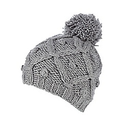 RJR.John Rocha - Light grey lattice knit bobble hat