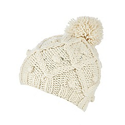 RJR.John Rocha - Cream lattice knit bobble hat