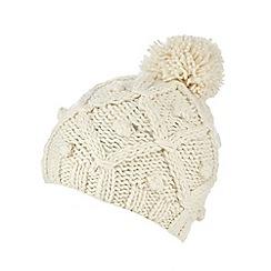 RJR.John Rocha - Cream lattice knit bobble hat