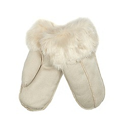 RJR.John Rocha - Cream faux sheepskin mittens