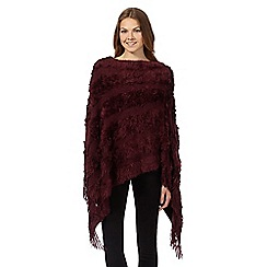 The Collection - Dark red textured stripe poncho