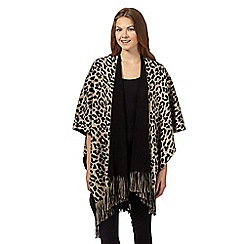 The Collection - Natural leopard knit wrap