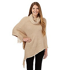 The Collection - Natural super-soft ribbed poncho
