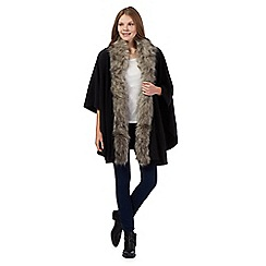The Collection - Black faux fur trimmed wrap
