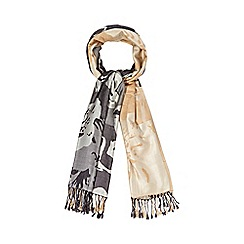 The Collection - Natural floral woven scarf
