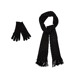 The Collection - Black sparkle scarf and mittens set