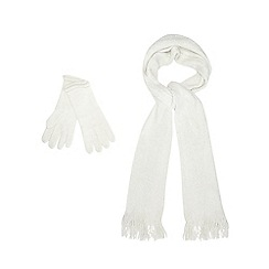 The Collection - Cream sparkle scarf and mittens set