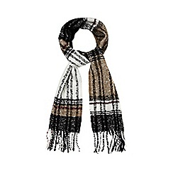 The Collection - Black brushed tartan scarf