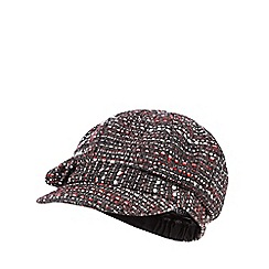 The Collection - Red tweed-effect baker boy cap