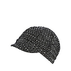 The Collection - Black tweed-effect baker boy cap