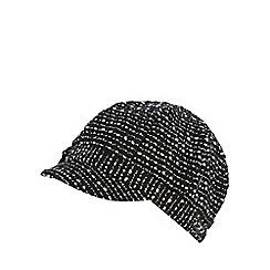 The Collection - Black tweed-effect baker boy cap