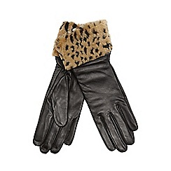 J by Jasper Conran - Black leather faux fur cuff gloves