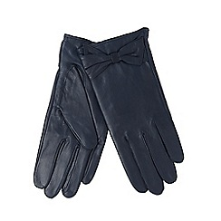 J by Jasper Conran - Navy leather bow cuff gloves