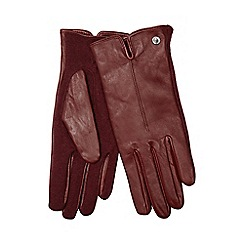 J by Jasper Conran - Dark red leather knitted palm gloves