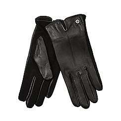 J by Jasper Conran - Black leather knitted palm gloves