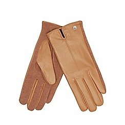 J by Jasper Conran - Camel leather knitted palm gloves