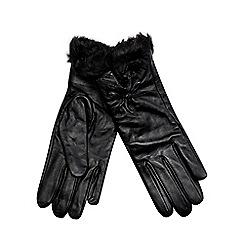 J by Jasper Conran - Black leather faux fur cuff gloves