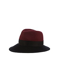 J by Jasper Conran - Dark red two tone fedora