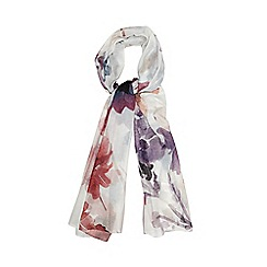 Betty Jackson.Black - Designer ivory watercolour floral scarf