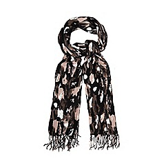 Betty Jackson.Black - Pink brushstroke blanket scarf