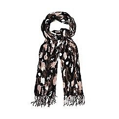 Betty Jackson.Black - Pink brushstroke blanket scarf