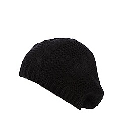Betty Jackson.Black - Black cable knit beret