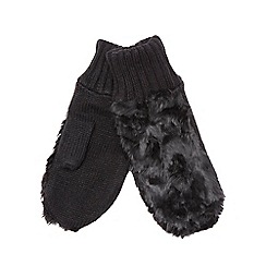 Betty Jackson.Black - Black faux fur mittens