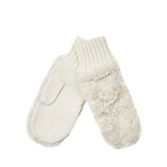 Betty Jackson.Black - Ivory faux fur mittens