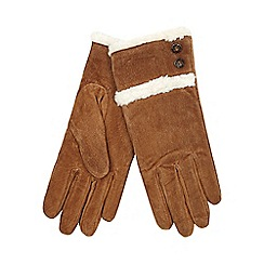 Isotoner - Sherpa lined suede glove in tan