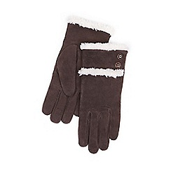 Isotoner - Sherpa lined suede glove in chocolate