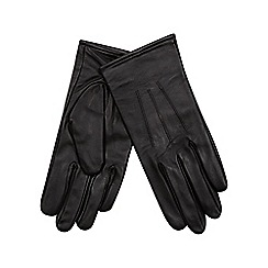 Isotoner - Three point detail leather glove in black