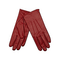 Isotoner - Three point detail leather glove in red