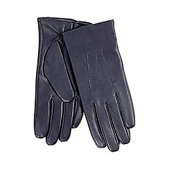 Isotoner - Three point detail leather glove in navy